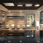 Interior Design and Construction Management Showroom Sanitaries Azul Acocsa