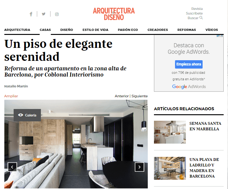 "ARQUITECTURA Y DISEÑO portal publishes ""an apartment of elegant serenity"""