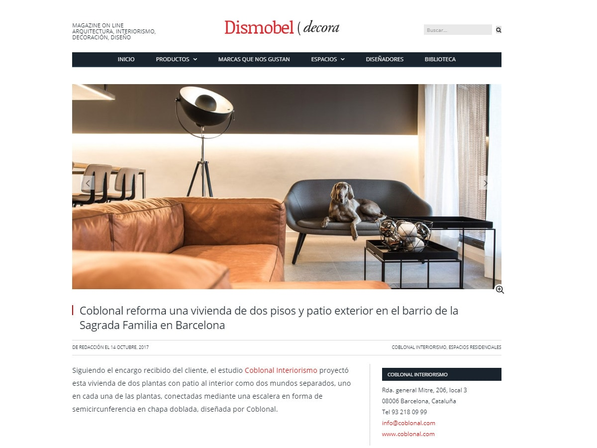 Dismobel Decora publishes the integral refurbishment of a duplex in Sagrada Familia