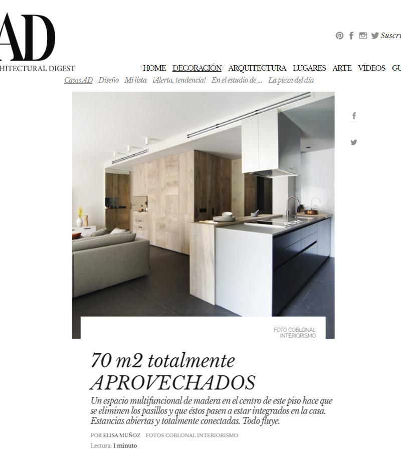 AD magazine publishes the interior design project of a flat in Sarria, Barcelona