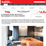 Publication in Finanzas.com about the gas fireplace proposed by Coblonal Interiorismo