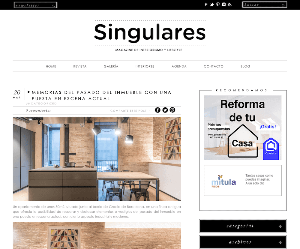 Appearance in Singulares Magazine of the industrial and colorful apartment in Barcelona