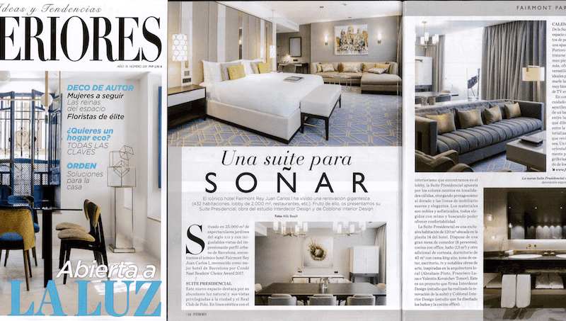 Our work for Fairmont appears in the magazine Interiores