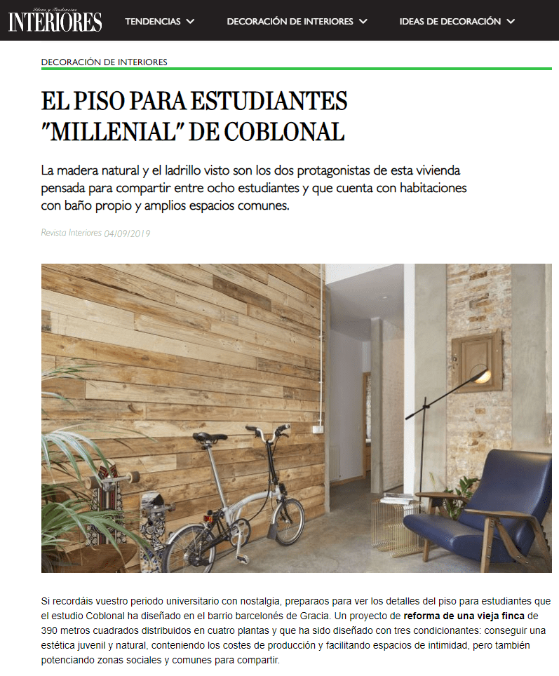 Interiores magazine publishes the shared housing we have designed in Gràcia