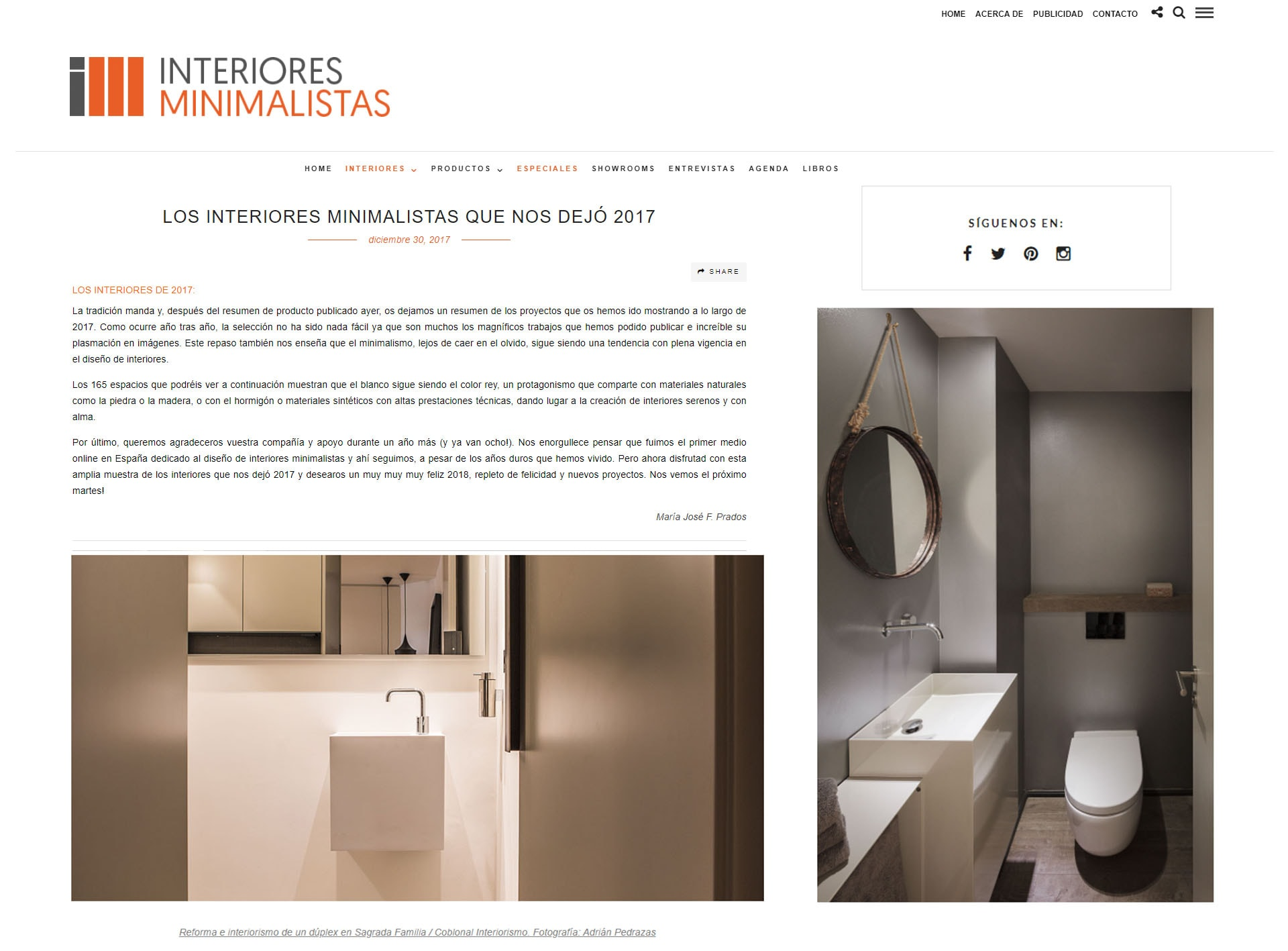 Publication of two projects of Coblonal Interiorismo in the magazine Interiores Minimalistas