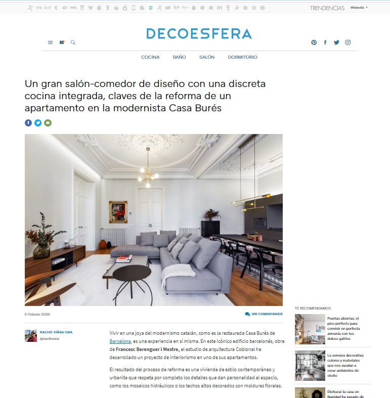 Decoesfera publishes our work at Casa Burés