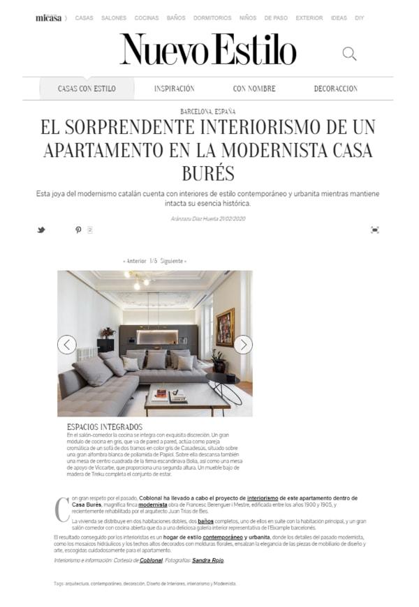 Nuevo Estilo publishes our project in Casa Burés