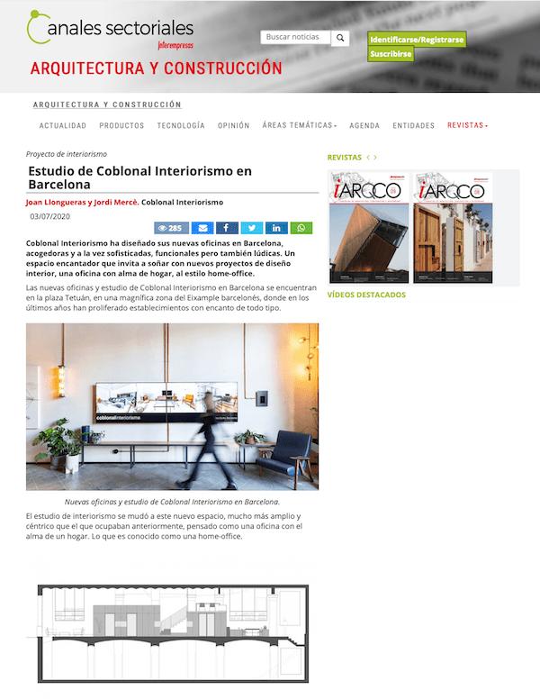 El nuevo estudio de Coblonal en Arquitectura y Contrucción iARQCO